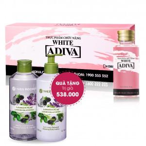 Combo 3 Adiva Collagen White (14 lọ/hộp): Quà Tặng: 1 Sữa Tắm Yves Rocher 400ml + 1 Dưỡng Thể Yves Rocher 390ml. Tổng Trị Giá 538.000 Đ
