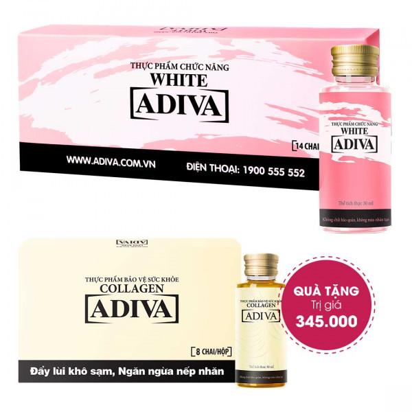 Combo 2 White Adiva (14 lọ/hộp) + Quà Tặng: 1 Collagen Adiva (8 lọ/hộp) Trị Giá 345.000 Đ
