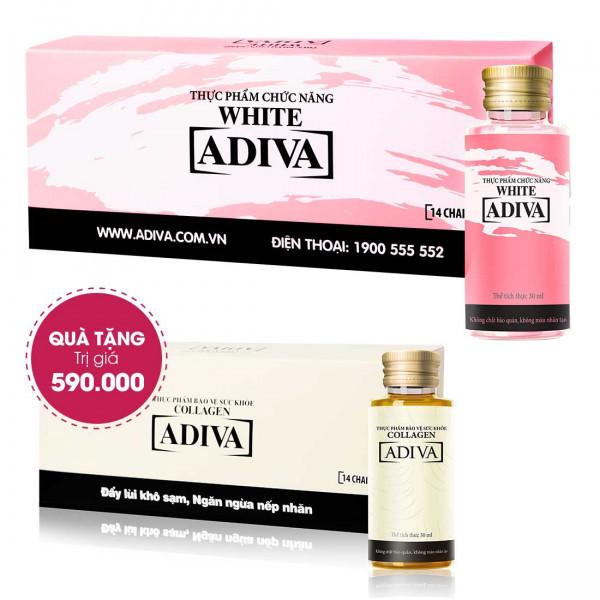 Combo 4 White Adiva (14 lọ/hộp) + Quà Tặng: 1 Hộp Collagen Adiva (14 lọ/hộp) Trị Giá 590.000 Đ