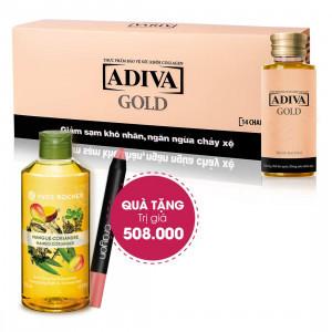 Combo 3 Collagen Adiva Gold (14 lọ/hộp) + Quà Tặng: 1 Sữa Tắm Yves Rocher 200ml + 1 Son Bút Chì Crayon Velvet Matte Lip Smooth 1.1g
