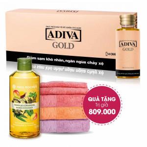 Combo 4 Collagen Adiva Gold (14 lọ/hộp) + Quà Tặng 1 Bộ 3 Khăn Lông Adiva + Sữa Tắm Yves Rocher 400ml. Tổng Giá Trị 809.000 Đ