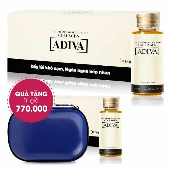Combo 3 Collagen Adiva (14 lọ/Hộp) + Quà Tặng 1 Collagen Adiva (14 lọ/Hộp) + 1 Ví Cầm Tay Cao Cấp Adiva. Tổng Giá Trị 770.000 Đ