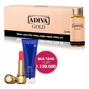 Combo 4 Dưỡng Chất Uống Làm Đẹp Adiva Gold (14 lọ/hộp) + Quà Tặng 1 Son Môi Dior Diorific Fantastique (3.5g) + 1 Sữa dưỡng trắng da Lancôme Blanc Expert Brightening Emulsion (15ml) Tổng Giá  Trị Quà Tặng 1.120.000 Đ