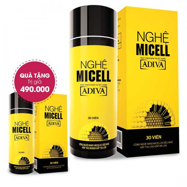 Combo 4 Nghệ Micell Adiva (30 viên/ hộp) Tặng 1 Nghệ Micell Adiva (30 viên/ hộp) Trị Giá 490.000 Đ